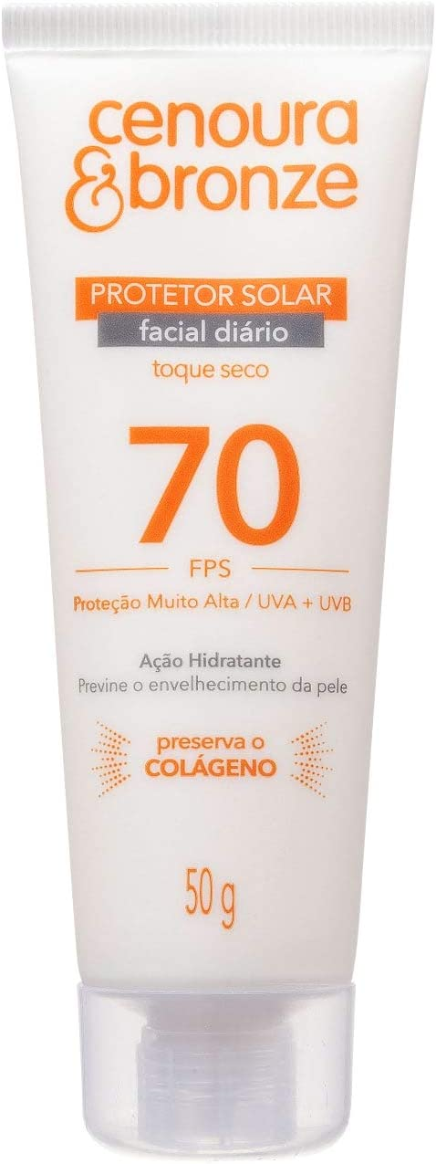 Protetor Solar Facial Cenoura e Bronze FPS70 50g, Cenoura e Bronze