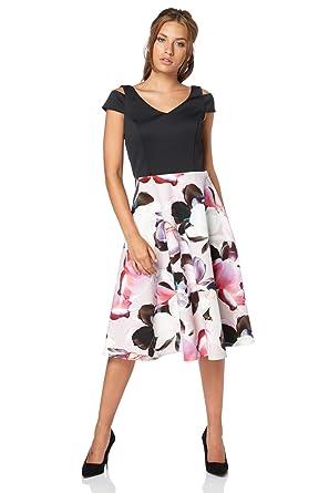 c71a338c09bdc Roman Originals - Robe ajustée et évasée avec imprimé Floral Rose - Femmes  - Rose -