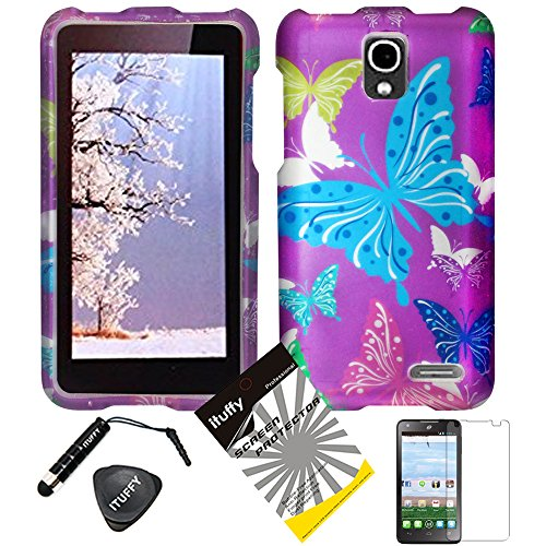 Faceplate Design Blue Star - 4 items Combo: ITUFFY (TM) LCD Screen Protector Film + Stylus Pen + Case Opener + Design Rubberized Snap on Hard Shell Cover Faceplate Skin Phone Case for TracFone Alcatel OneTouch Pop Star LTE A845L (4.0