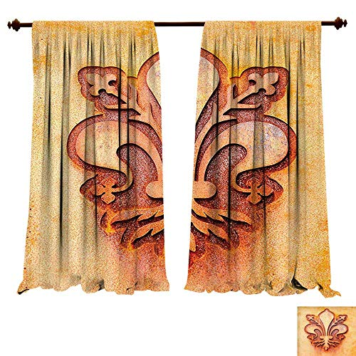 fengruiyanjing-Home Room Darkening Wide Curtains Fleur De Lis Lily Flower Symbol on Metal Plate Floral Royal Arms France Sign Cultural Art Print Orange Decor Curtains (W120 x L107 -Inch 2 Panels)