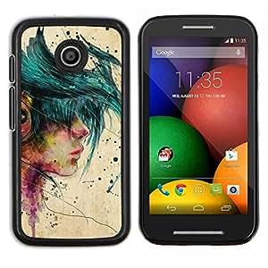 Caucho caso de Shell duro de la cubierta de accesorios de protección BY RAYDREAMMM - Motorola Moto E - Muchacha de la música Emo Hipster Beige Pintura