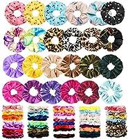 75 Pcs Premium Velvet Hair Scrunchies Silk Scrunchies Chiffon Flower Hair Bands for Women or Girls Hair Accessories with...