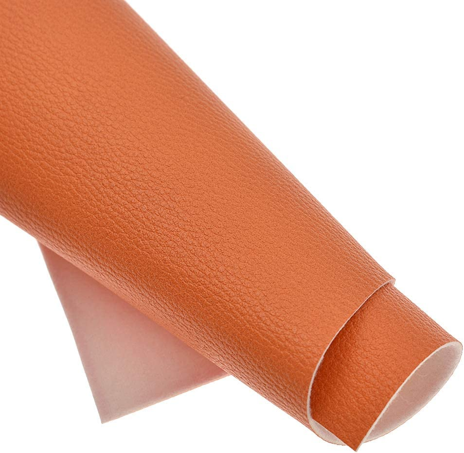 CHZIMADE A5 Litchi Faux Leather Fabric DIY Sheet Canvas Back Great for Hair Bows Making Craft