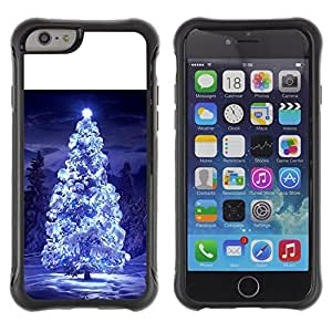 WAWU Funda Carcasa Bumper con Absorci??e Impactos y Anti-Ara??s Espalda Slim Rugged Armor -- christmas tree blue snow winter night lights -- Apple Iphone 6 PLUS 5.5