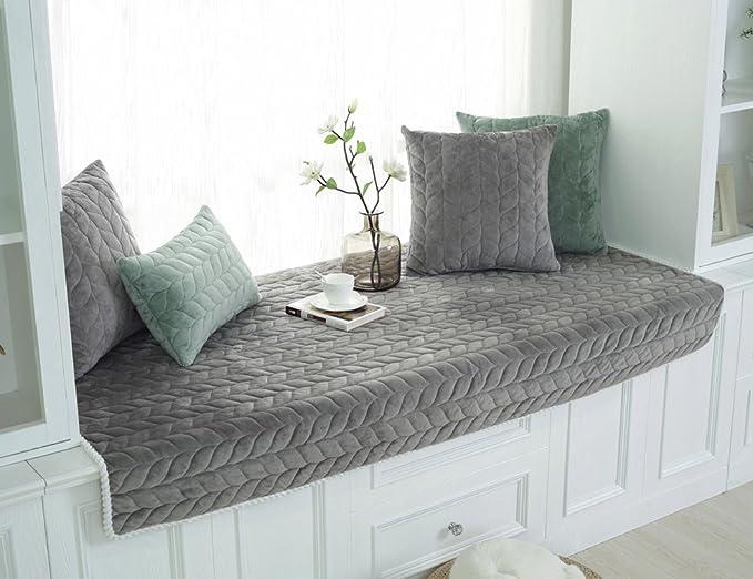Lutanky Modern Bay Window Cushion Windowsill Pad Simple Crystal Velvet Tatami Mats Couch Slipcover Non-Slip Sofa Protector Cover Soft Floor Mats (Grey, 90 x 180 cm (35x71inch))