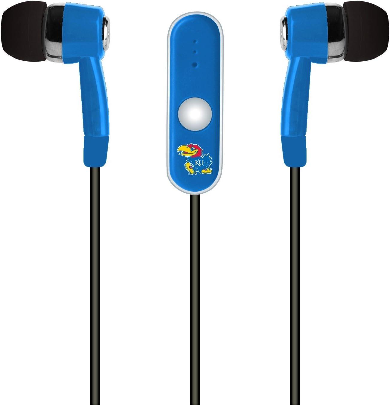 Regular College Kansas Jayhawks Stereo Hands Free Earbud Blue