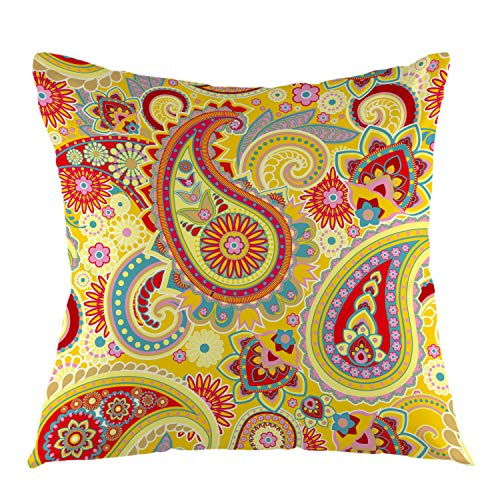 (oFloral Decorative Throw Pillow Case Traditional Asian Elements Paisley Pattern Square Cushion Cover for Home Sofa Bed Chair Couch Living Room Decoration Euro Pillow Size 18 x 18 Inch Yellow)