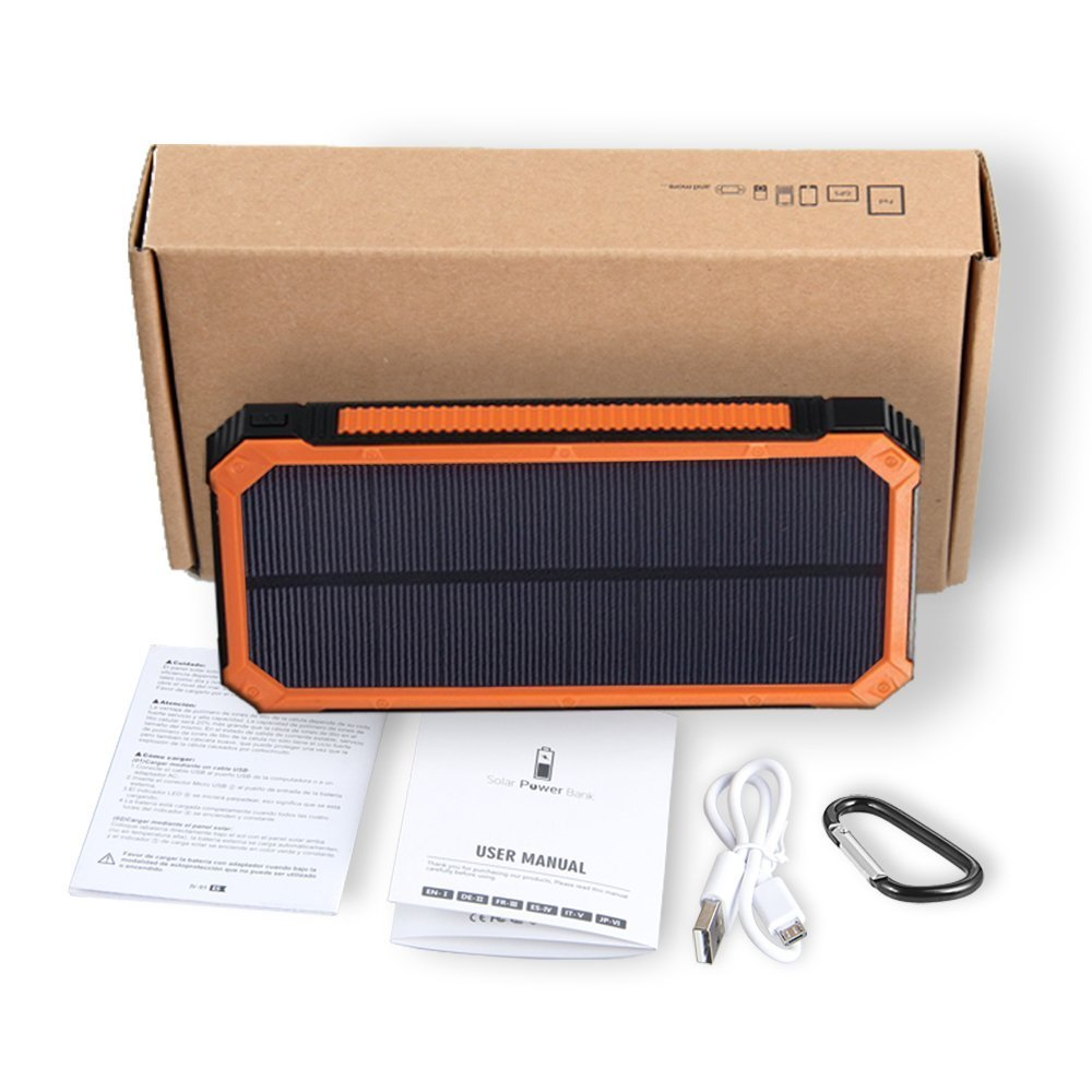 Solar Charger Friengood 15000mAh Portable Solar Power Bank Dual USB Ports Solar Phone Battery Charger with 6 LED Flashlight Light for iPhone, iPad, Samsung and More (Orange) by Friengood (Image #7)