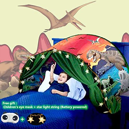 Nifogo Tente De Lit Enfant,Tente Tunnel Enfants,Tente Enfant Pliable Pop Up,Tente De Lit avec LED Tente De Jeu avec Lumiere,Cadeau danniversaire De No/ël Gar/çon Fille