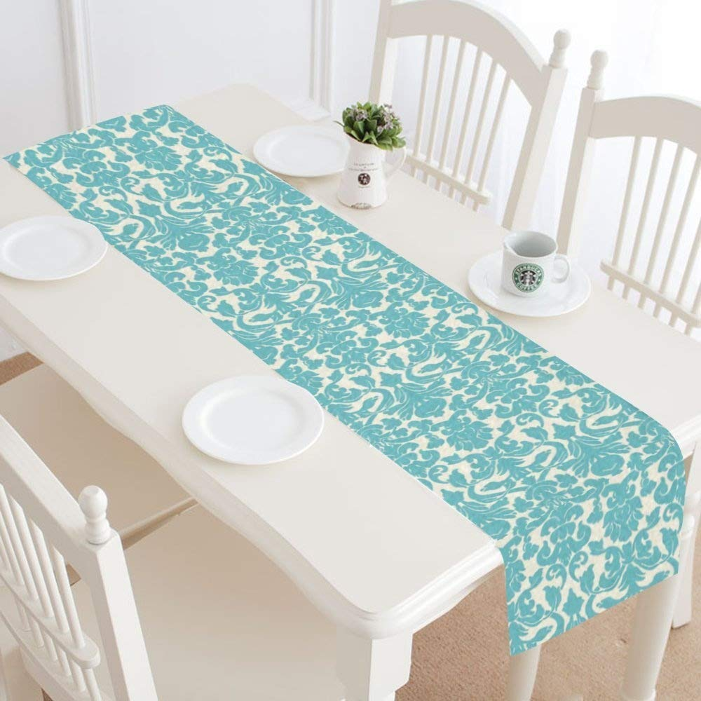 (Design 3) - InterestPrint Teal Damask Floral Table Runner Linen & Cotton Cloth Placemat Home Decor for Wedding Banquet Decoration 41cm x 180cm  デザイン#3 B07BDLCNKF
