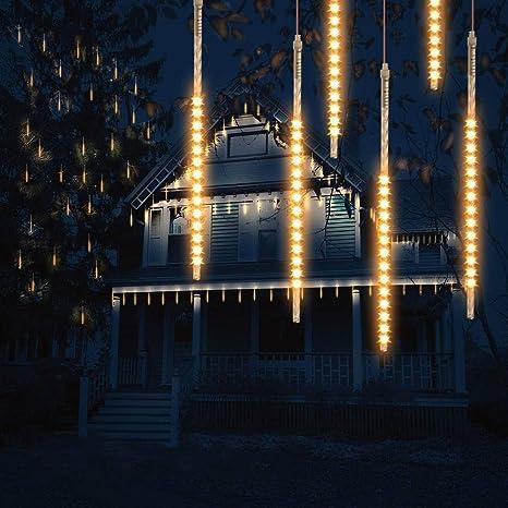 FISHOAKY 30cm 10 Tubes 300 LED Meteor Regen 30cm Wei/ß IP65 Wasserdichte Meteorschauer Lichter f/ür Weihnachten Party Garten Dekoration Schneefall Lichterkette LED Meteorschauer Lichterkette