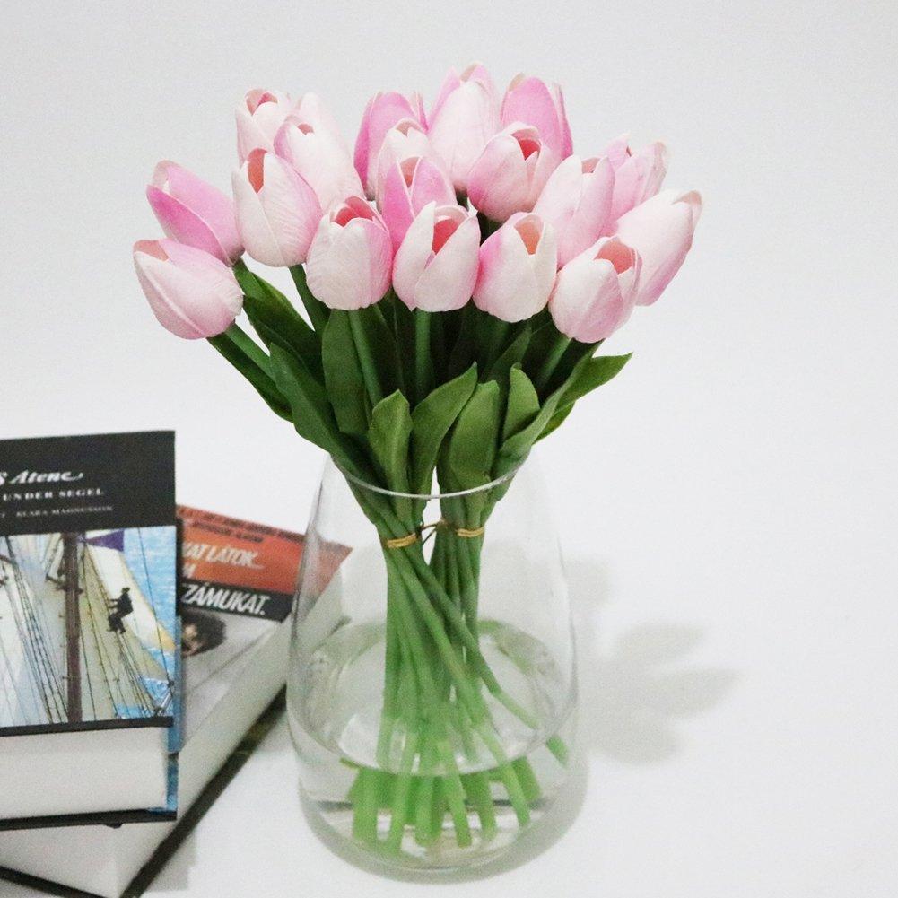 smartcoco人工チューリップシルクの花、人工花ウェディングの装飾ヴィンテージパック10 (ホワイト) ピンク STF-BY0686-2 B07CP38QN1 ピンク