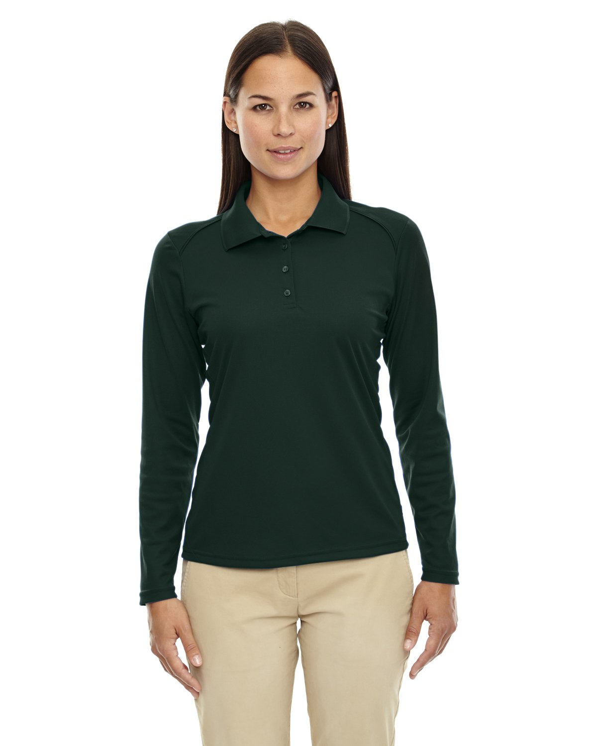 Ash City Ladies Armour Long Sleeve Polo (Small, Forest) by Ash City Apparel