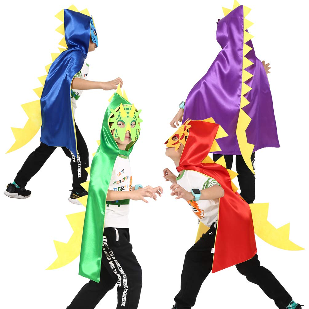 ADJOY Halloween Dinosaur Costumes Capes and Masks for Kids - Dinosaur Themed Birthdays Party Costume Favors (4Capes 4 Masks)