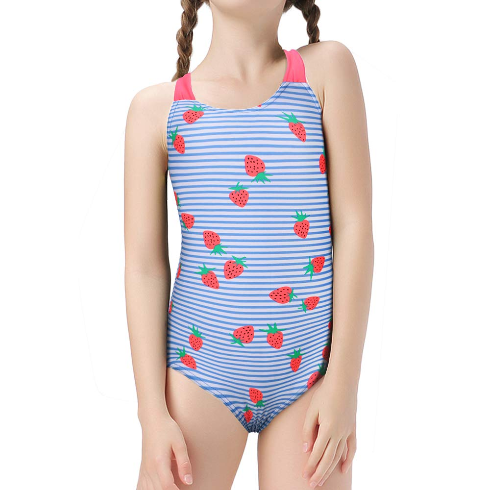 BAOHULU Girls One Piece Swimsuit Strap Floral Bathing Suit Swimwear
