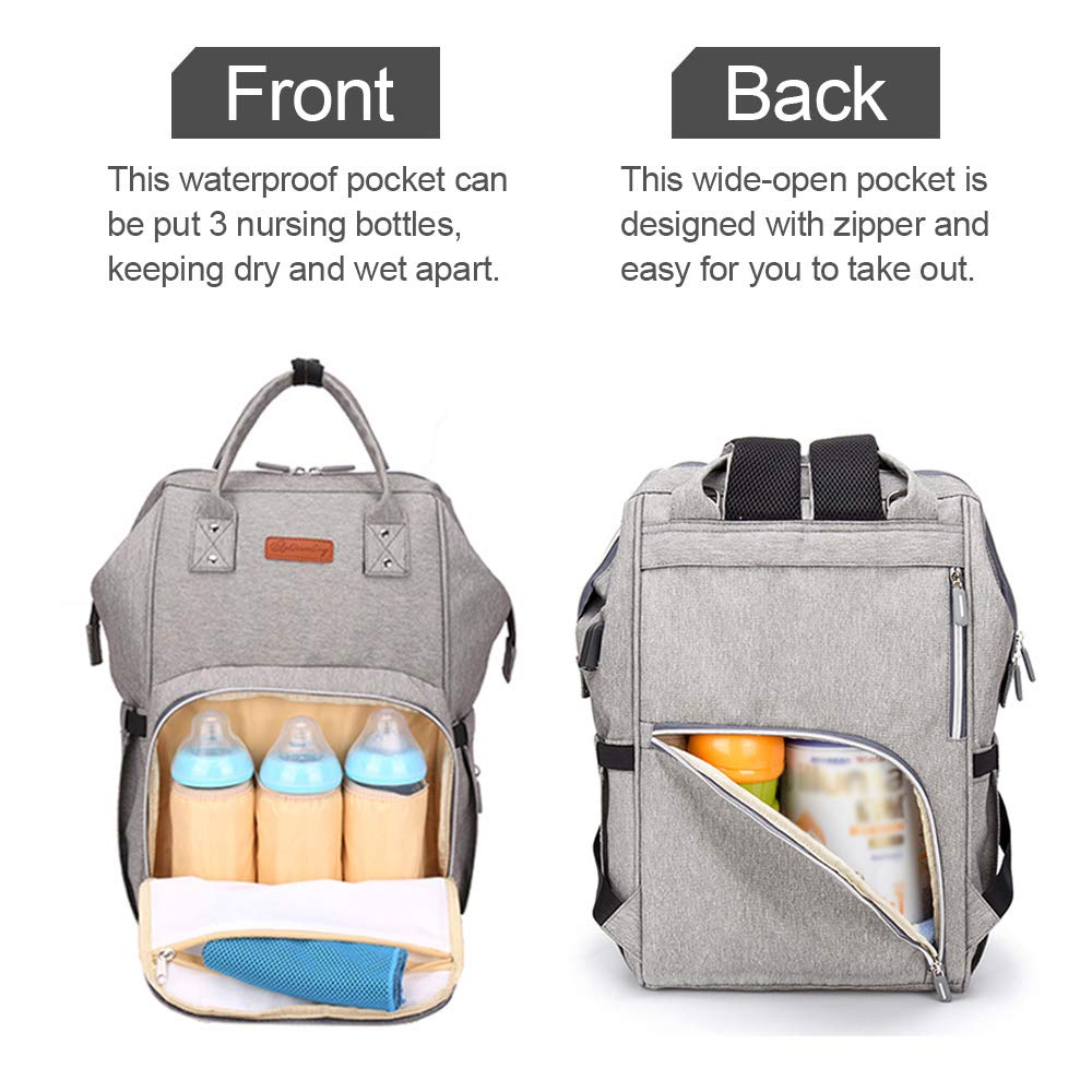 Stylish for Baby Care Nappy Changing Bag Large Capacity Ramotto Baby Diaper Rucksack Backpack Waterproof Grey