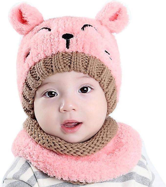 Kfnire bebé Sombrero y Bufandas, otoño Invierno niños niñas Lana ...