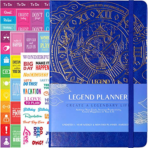 (Legend Planner - Deluxe Weekly & Monthly Life Planner to Hit Your Goals & Live Happier in 2019. Organizer, Productivity Notebook & Gratitude Journal - Undated, A5 Royal Blue Hardcover + Bonus Stickers)