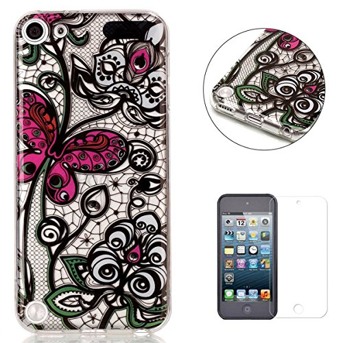 iPod Touch 5/6 Silicone Gel Case [with Free Screen Protector],KaseHom Crystal Clear Ultra Slim Soft Rubber Skin Flexible Bumper Shell Transparent TPU Protective Case Cover,Pink Butterfly