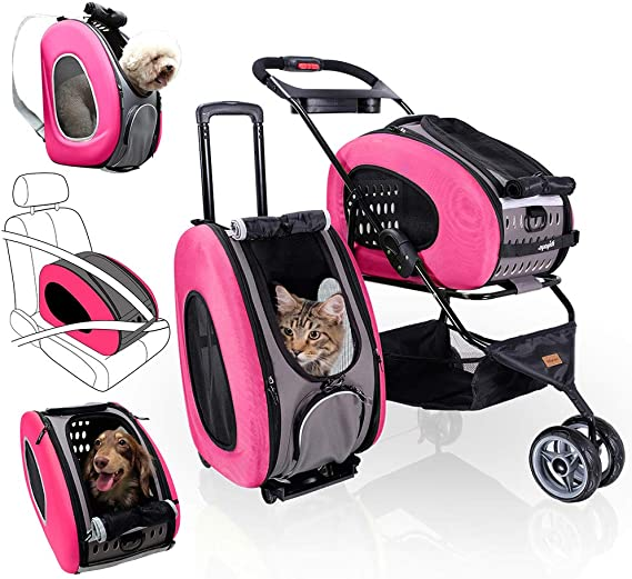 ibiyaya 5-in-1 Pet Carrier with Backpack, Car Seat, Pet Carrier Stroller, Shoulder Strap, Carriers with Wheels for Dogs