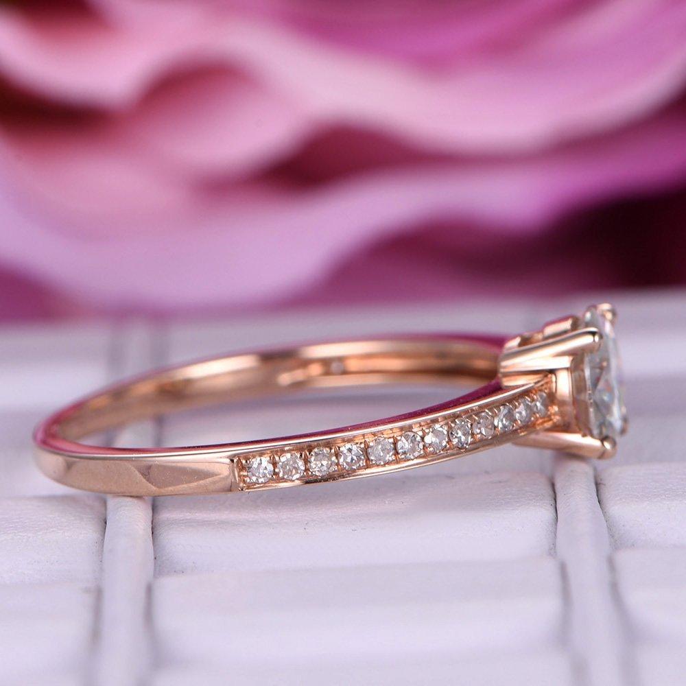 Amazon.com: Round Moissanite Engagement Ring Pave Diamond Wedding ...
