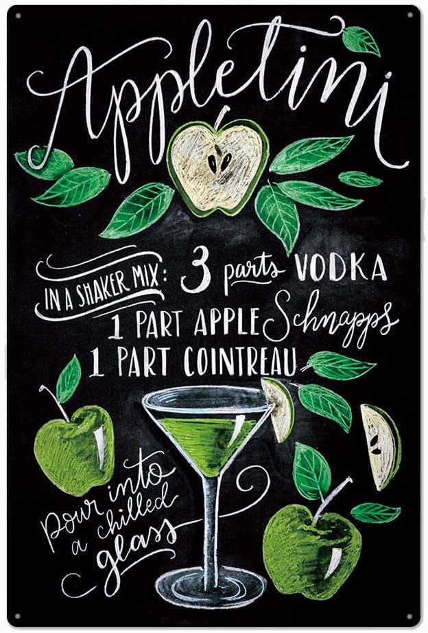 Black Original Design Apple Timi Cocktail Recipe Tin Metal Sign Wall Art, Thick Tinplate Print Poster Wall Decoration Signs for Man Cave/Bar (Apple TIMI, 8x12 Inches (20x30 cm))
