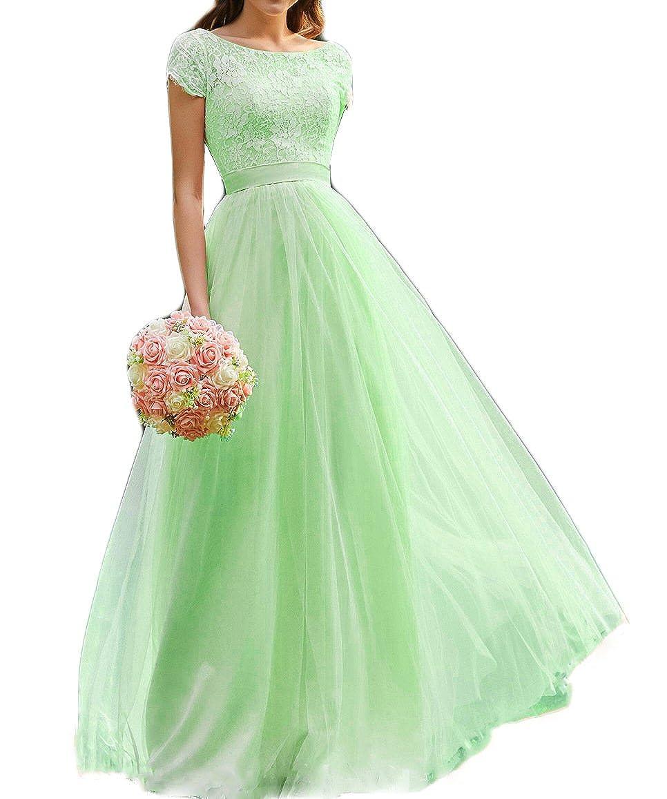 Green liangjinsmkj Sheath Short Sleeves A Line Tulle Bridesmaid Dress Lace Wedding Fomal