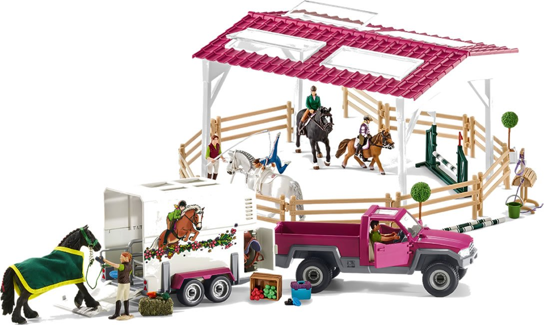 Schleich 42403 Riding School with Pick-Up and Horse Box Play Set, Multicolor