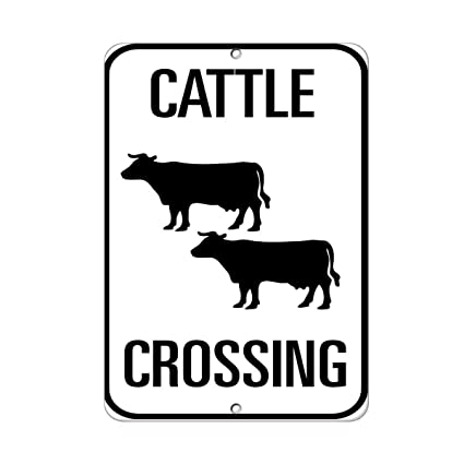 Amazon Com Cattle Crossing Traffic Sign Vinyl Sticker Decal 8