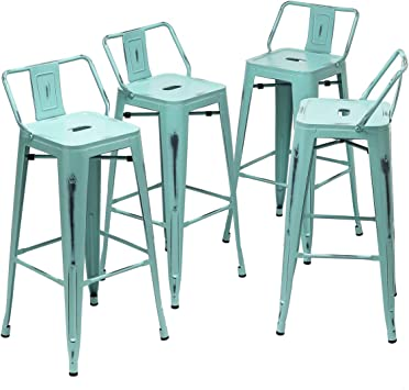 Amazon Com 26 Inch Metal Barstools Set Of 4 Indoor Outdoor Bar Stools With Back Kitchen Counter Height Stools 26 Seat Height Low Back Distressed Green Blue Kitchen Dining