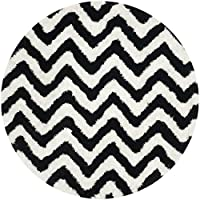 Safavieh Barcelona Shag Collection BSG320C Handmade Ivory and Black Polyester Round Area Rug (5 Diameter)