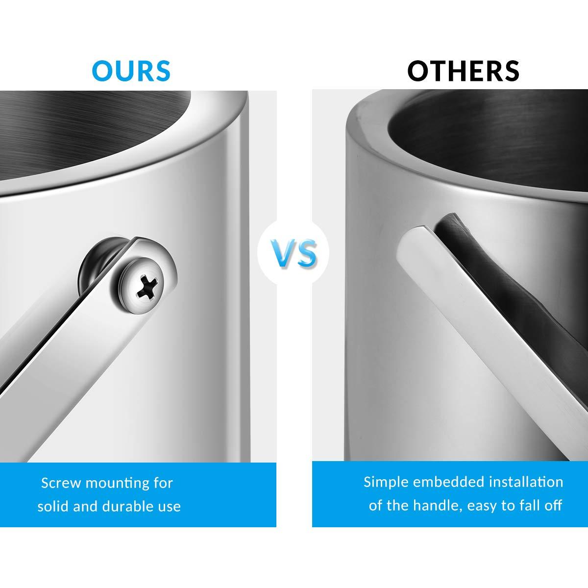 passe au lave-vaisselle Hemoton Seau /à glace portable en acier inoxydable durable avec double paroi et filtre /à eau pour bar f/ête plus long temps de refroidissement pique-nique
