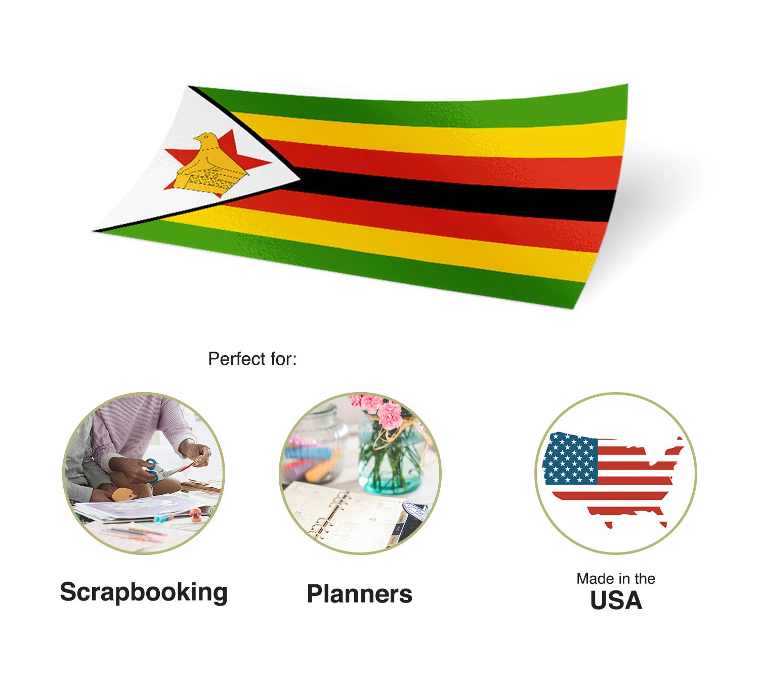 Desert Cactus Zimbabwe Country Flag Sticker Decal Variety Size Pack 8 Total Pieces Kids Logo Scrapbook Car Vinyl Window Bumper Laptop V