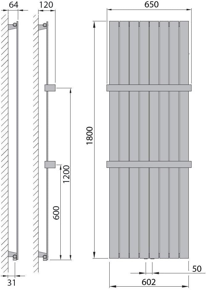566 Watt nach EN442 Design Paneelheizk/örper Heizk/örper Badheizk/örper Anthrazit mit Mittelanschluss Handtuchstange Edelstahl alle Gr/ö/ßen