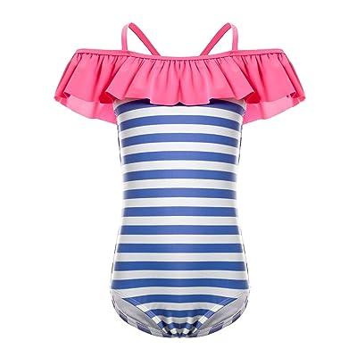 DUSISHIDAN Ruffle Shoulder Swimsuits for Big Girls, One Piece Stripe Bikini Swim Bathing Suit