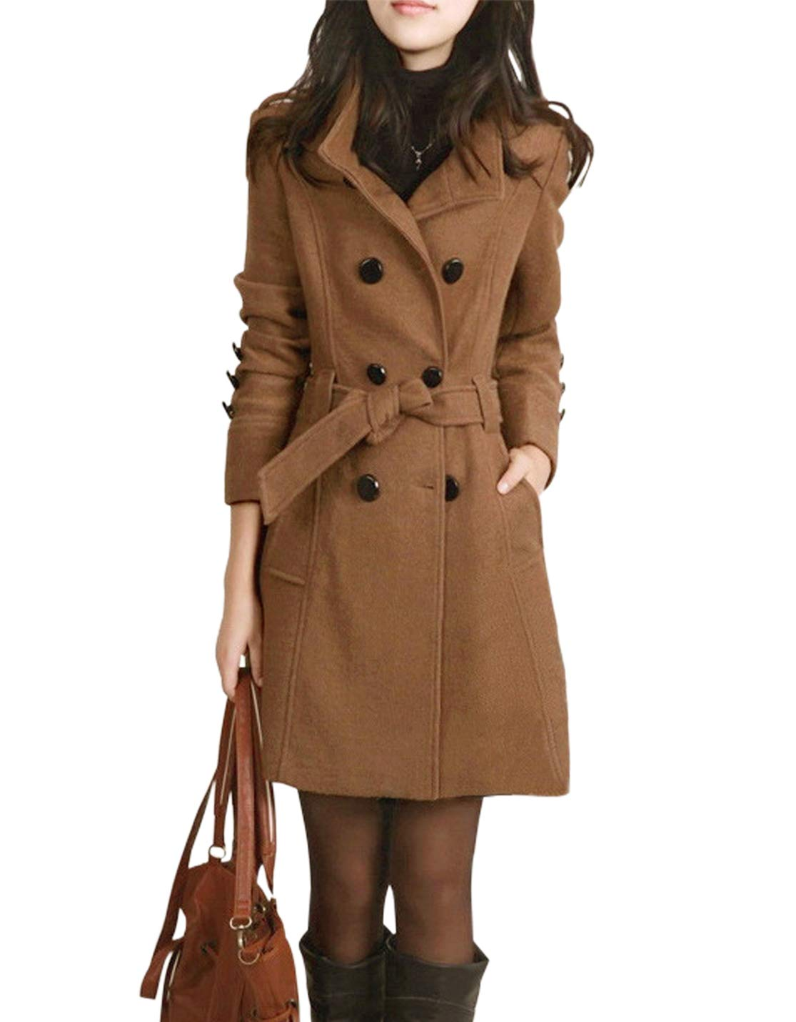 Jenkoon Women's Winter Double Breasted Stand Collar Button Pea Coat Trench Coat with Belt (Camel, X-Large) by Jenkoon
