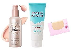 SoltreeBundle Set Beauty Shot Face Blur & Baking Powder Pore Cleansing Foam with SoltreeBundle Natural Hemp Paper 50pcs-Korean Beauty Skincare Best