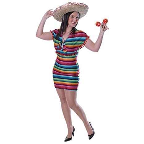 43a44f9f55a Image Unavailable. Image not available for. Color  Ladies Mexican Fancy  Dress Lady Festival Costume Sombrero COMPLETE OUTFIT