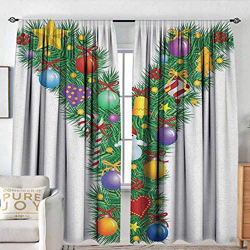 Blackou Curtains Letter Y,Christmas Celebration Items Happy Hearts Colorful Balls Snowman Uppercase Y Print, Multicolor,Wide Blackout Curtains, Keep Warm Draperies,Set of 2 Panels 120