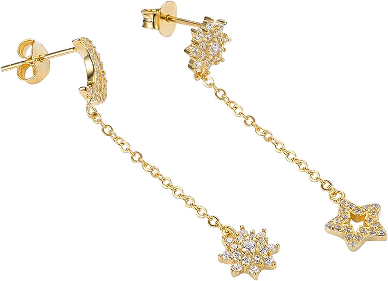 AieniD Blanco Pendientes para Mujeres Circón Piedra preciosa Cristal Estrellas de Luna