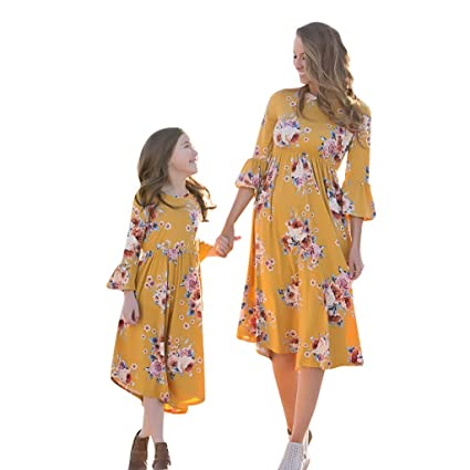 5d703206f1cf3 Amazon.com: Fiaya Mommy and Me Daughter Matching Long Dress Floral ...