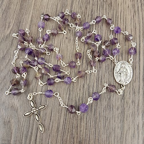 Amethyst five decade Rosary with Miraculous Medal