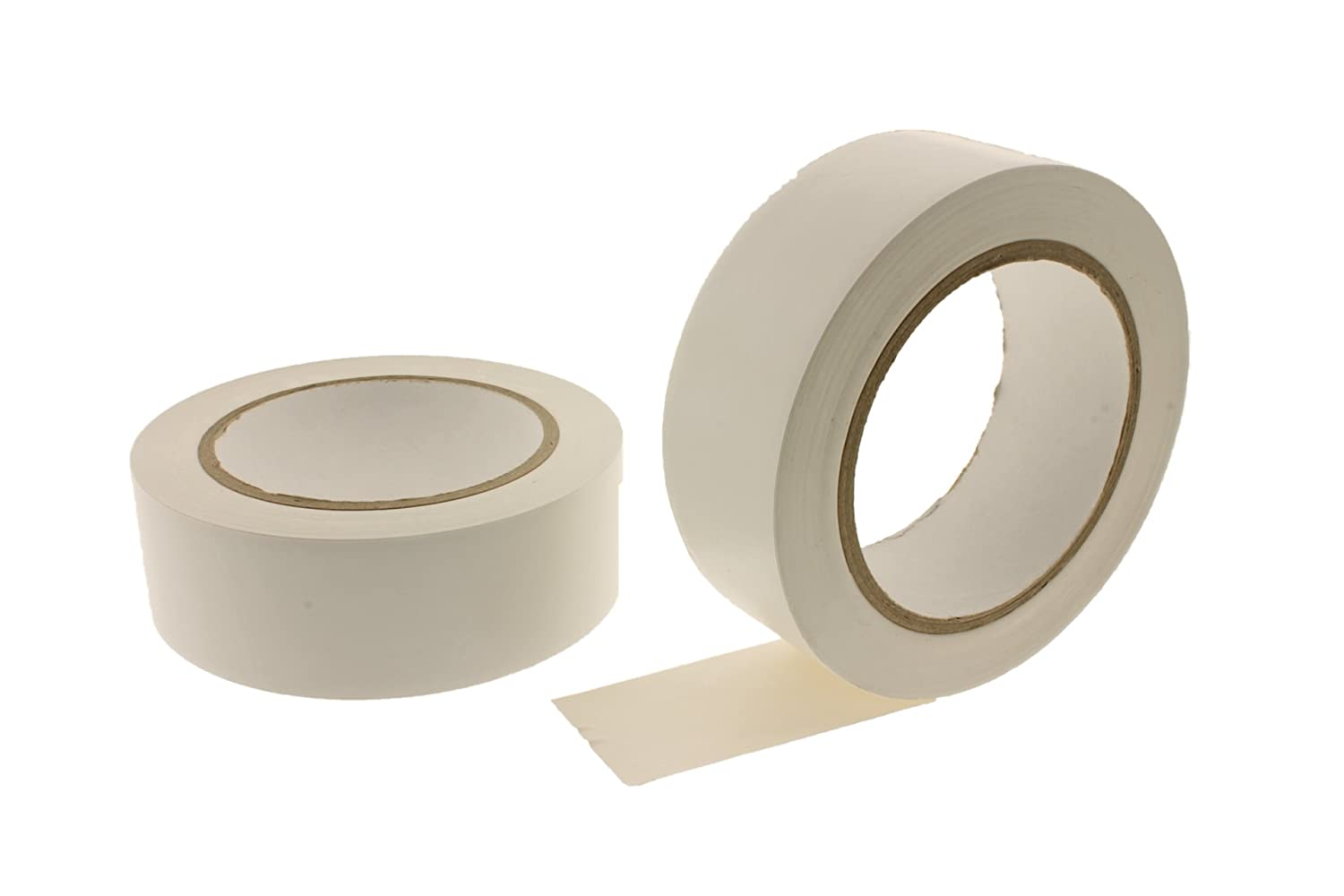 2pk 1.5 WHITE Durable Rubber Adhesive PVC Vinyl Sealing Coding Warning OSHA Caution Marking Safety Electrical Removable Floor Tape 1.42 in 36mm 36 yard 6 Mil