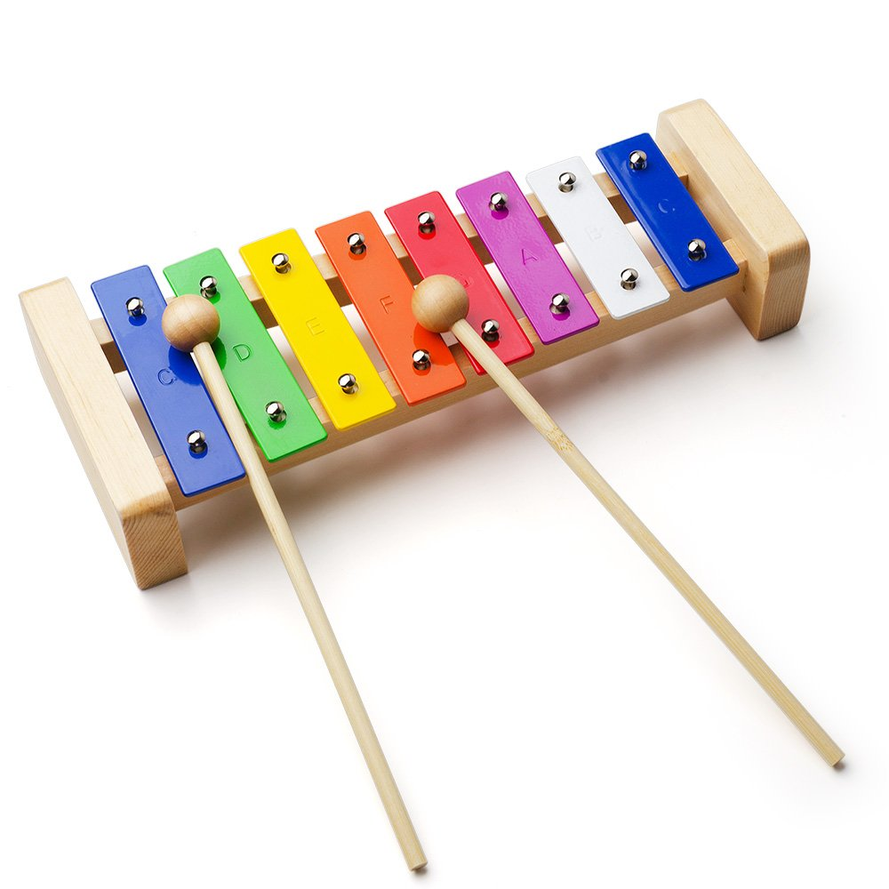 Vangoa - 8 Note Rainbow Xylophone Musical Toy Percussion Instrument with 2 Wooden Mallets VGX