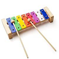 Vangoa 8 Note Rainbow Xylophone Musical Toy Percussion Instrument with 2 Wooden Mallets