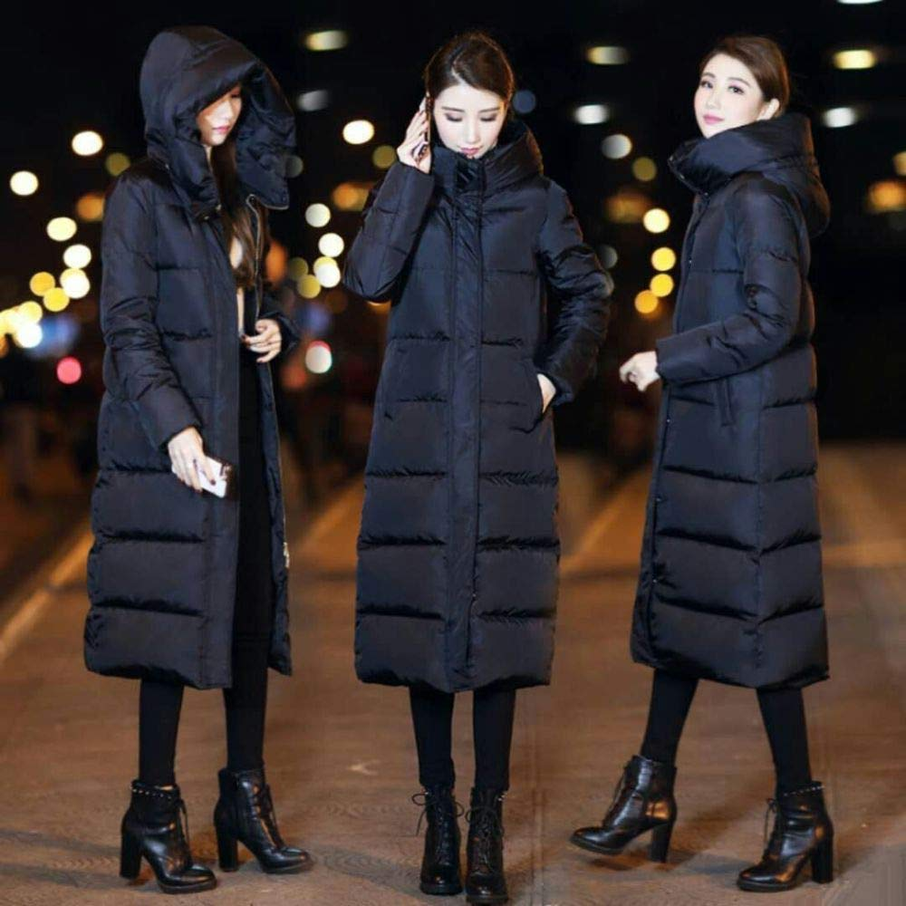 Black S Black S CLOTHES Long down Jacket, Winter New Over-The-Knee Cap with Thick Cotton, Fashion Women's Fashion
