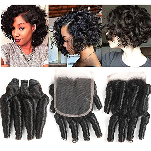 (Molefi Brazilian Funmi Hair Curly Weave 3 Bundles with Lace Closure Spiral Curl Hair Bundles with 4x4 Closure 100% Human Hair Extensions 100g/pc Natural Black (14 14 14+12))