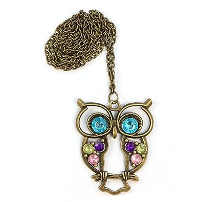 Lady Crystal Blue Eyed Owl Cadena Larga Colgante Suéter ...