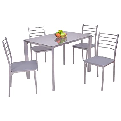 Tangkula 5 Piece Glass Top Dining Set Kitchen Modern Furniture Tabel And Chairs  Set