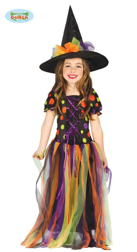 Disfraz de Bruja Crculos de Colores para nia 1012 aos Amazon